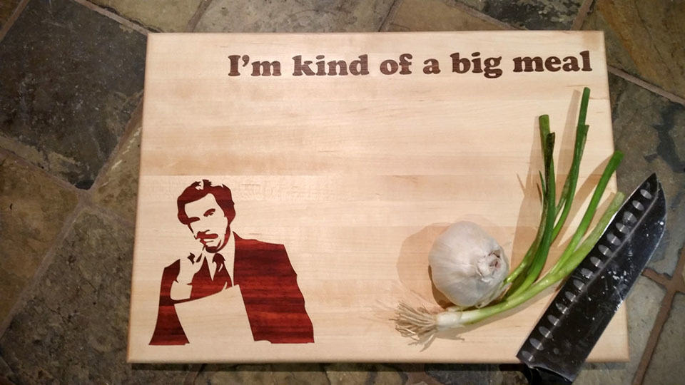 Custom Ron Burgundy Cutting Board Labeled With Food Pun