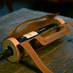 Here's a Beautiful Wine Bottle Holder of Leather and Wood Made Especially for Your Bicycle