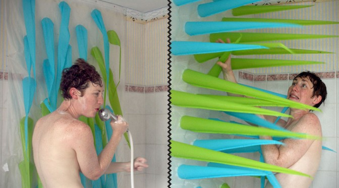 Spiky Shower Curtain's Inflatable Spikes Will Force You Out of the Shower After 4 Minutes