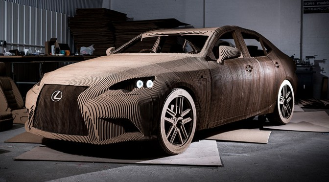 Lexus Unveiled a Drivable Electric IS Sedan Made out of… Cardboard