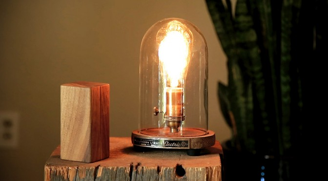 Turning On or Off Your Lamp is as Easy as Flipping this Block of Wood