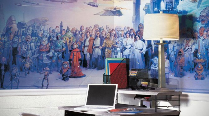 This Massive Star Wars Cast Wallpaper Mural Has Every Character From All Six Movies in it!