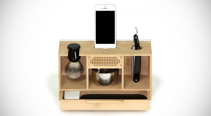 This Box Organizes Your Shaving Essentials And Amplifies Your Smartphone's Audio Too
