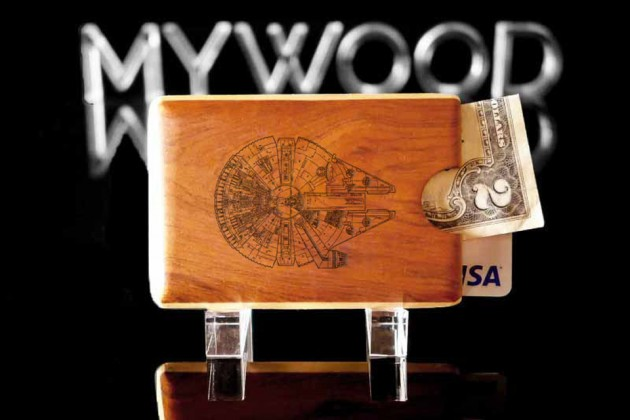 Engraved Wood Wallet by My Wood Wallets - Millennium Falcon