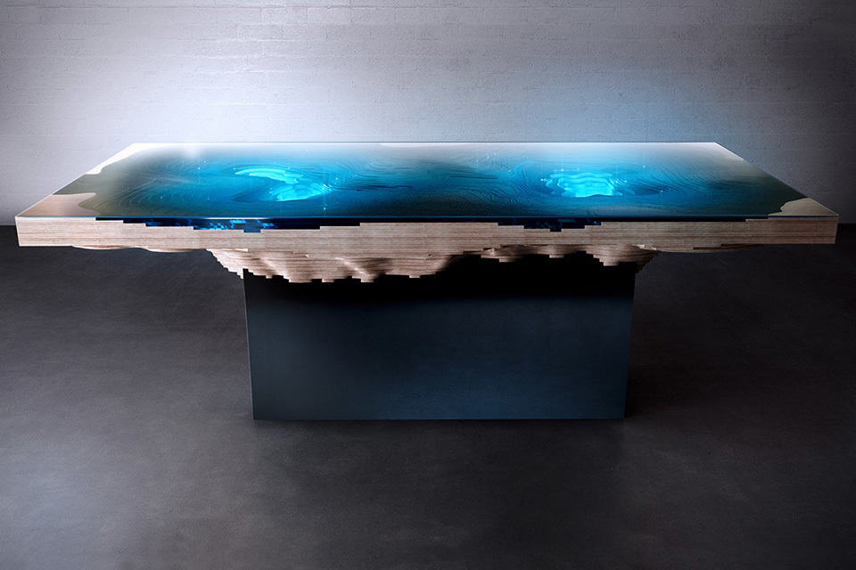 Abyss Dining Table Be Mesmerized By 3d Bathymetric Map As