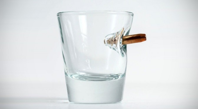 Shot Glass With Embedded Bullet Looks Like A Bullet Impact Captured At The Right Moment