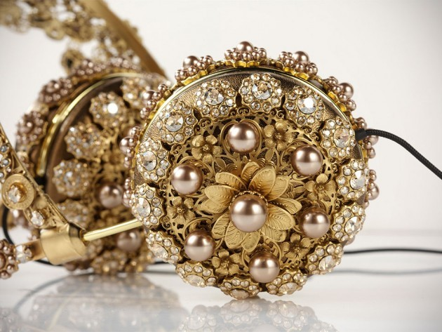 FRENDS x Dolce & Gabbana Embellished Leather Headphones with Gold Crown