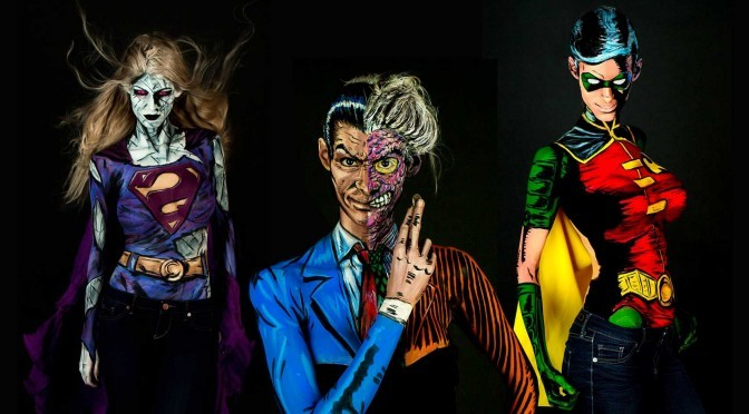 You Won't Believe These 'Print' Comic Characters Are Actually Body Painting Art On The Same Person