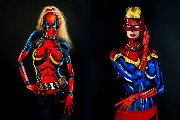 Kay Pike Comic Book Style Bodypainting