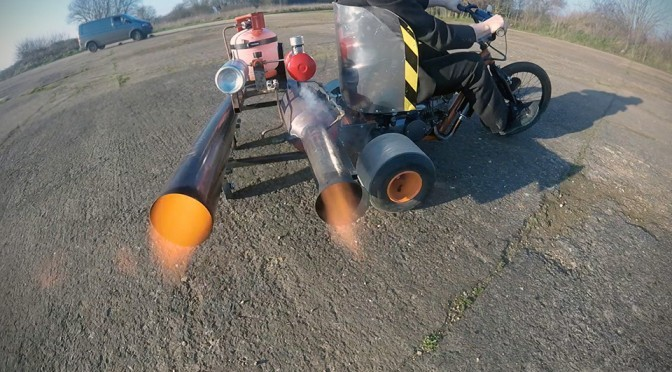 British Garage Inventor Creates A Fire-spewing Pulse Jet Powered Drift Trike