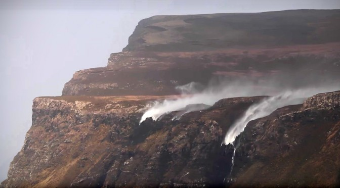 The Fury Of Mother Nature Sends Scottish Waterfalls Back Up To The Top of The Cliff