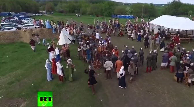 Russian 'Warrior' Takes Out Drone With Spear