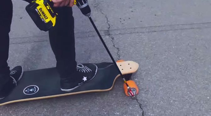 DIY Drill-powered Electric Skateboard by Inspire To Make