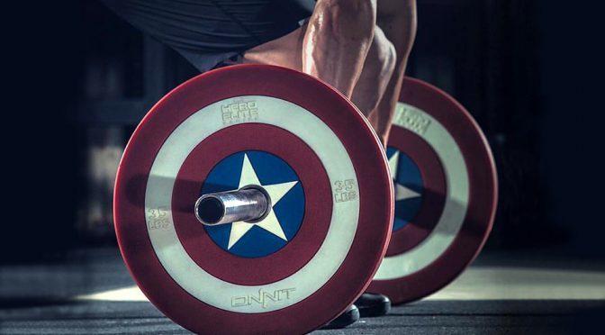 <em>Captain America</em> Barbell Plates: Super Soldier Serum Not included