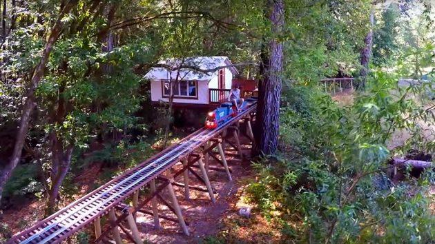 Backyard Train scale train moving on backyard railway trestle is simply mesmerizing